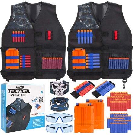 2-Pack Skyddsväst - Set med Skyddsglasögon, Magasin & Skott till NERF N-Strike